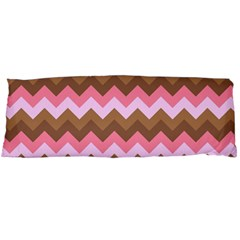 Shades Of Pink And Brown Retro Zigzag Chevron Pattern Body Pillow Case Dakimakura (two Sides)