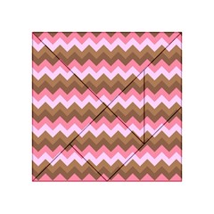 Shades Of Pink And Brown Retro Zigzag Chevron Pattern Acrylic Tangram Puzzle (4  X 4 )