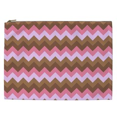 Shades Of Pink And Brown Retro Zigzag Chevron Pattern Cosmetic Bag (xxl)