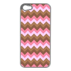Shades Of Pink And Brown Retro Zigzag Chevron Pattern Apple Iphone 5 Case (silver)