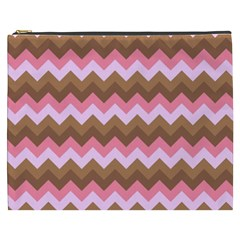 Shades Of Pink And Brown Retro Zigzag Chevron Pattern Cosmetic Bag (xxxl)