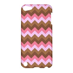 Shades Of Pink And Brown Retro Zigzag Chevron Pattern Apple Ipod Touch 5 Hardshell Case
