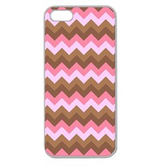 Shades Of Pink And Brown Retro Zigzag Chevron Pattern Apple Seamless Iphone 5 Case (clear)