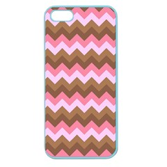 Shades Of Pink And Brown Retro Zigzag Chevron Pattern Apple Seamless Iphone 5 Case (color)