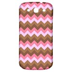 Shades Of Pink And Brown Retro Zigzag Chevron Pattern Samsung Galaxy S3 S III Classic Hardshell Back Case Front