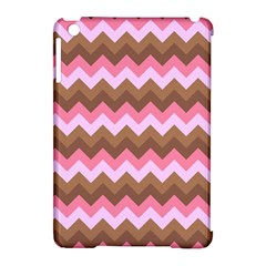 Shades Of Pink And Brown Retro Zigzag Chevron Pattern Apple Ipad Mini Hardshell Case (compatible With Smart Cover)
