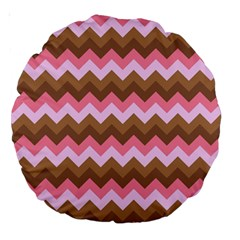 Shades Of Pink And Brown Retro Zigzag Chevron Pattern Large 18  Premium Round Cushions