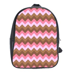 Shades Of Pink And Brown Retro Zigzag Chevron Pattern School Bags (xl)