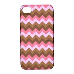 Shades Of Pink And Brown Retro Zigzag Chevron Pattern Apple Iphone 4/4s Hardshell Case With Stand