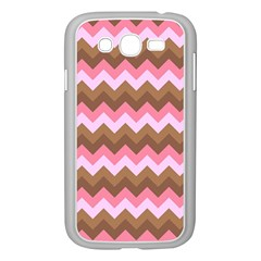 Shades Of Pink And Brown Retro Zigzag Chevron Pattern Samsung Galaxy Grand Duos I9082 Case (white)