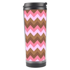Shades Of Pink And Brown Retro Zigzag Chevron Pattern Travel Tumbler