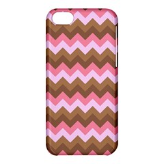 Shades Of Pink And Brown Retro Zigzag Chevron Pattern Apple Iphone 5c Hardshell Case