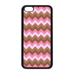 Shades Of Pink And Brown Retro Zigzag Chevron Pattern Apple Iphone 5c Seamless Case (black)