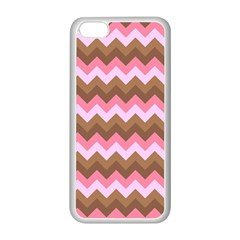 Shades Of Pink And Brown Retro Zigzag Chevron Pattern Apple Iphone 5c Seamless Case (white)