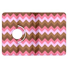 Shades Of Pink And Brown Retro Zigzag Chevron Pattern Kindle Fire Hdx Flip 360 Case