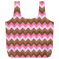 Shades Of Pink And Brown Retro Zigzag Chevron Pattern Full Print Recycle Bags (l)