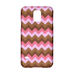 Shades Of Pink And Brown Retro Zigzag Chevron Pattern Samsung Galaxy S5 Hardshell Case