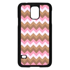 Shades Of Pink And Brown Retro Zigzag Chevron Pattern Samsung Galaxy S5 Case (black)