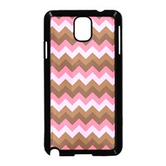 Shades Of Pink And Brown Retro Zigzag Chevron Pattern Samsung Galaxy Note 3 Neo Hardshell Case (black)