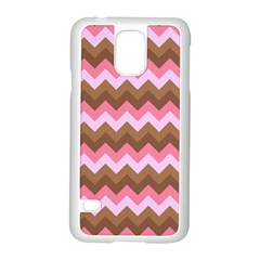 Shades Of Pink And Brown Retro Zigzag Chevron Pattern Samsung Galaxy S5 Case (white)