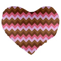 Shades Of Pink And Brown Retro Zigzag Chevron Pattern Large 19  Premium Flano Heart Shape Cushions