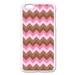 Shades Of Pink And Brown Retro Zigzag Chevron Pattern Apple Iphone 6 Plus/6s Plus Enamel White Case