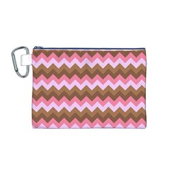 Shades Of Pink And Brown Retro Zigzag Chevron Pattern Canvas Cosmetic Bag (m)