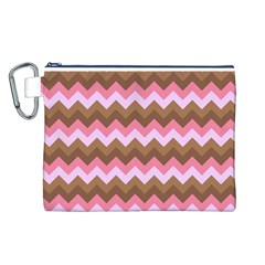 Shades Of Pink And Brown Retro Zigzag Chevron Pattern Canvas Cosmetic Bag (l)