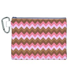 Shades Of Pink And Brown Retro Zigzag Chevron Pattern Canvas Cosmetic Bag (xl)
