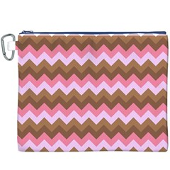 Shades Of Pink And Brown Retro Zigzag Chevron Pattern Canvas Cosmetic Bag (xxxl)