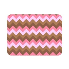 Shades Of Pink And Brown Retro Zigzag Chevron Pattern Double Sided Flano Blanket (mini)