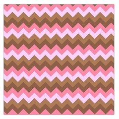 Shades Of Pink And Brown Retro Zigzag Chevron Pattern Large Satin Scarf (square)