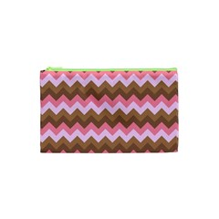 Shades Of Pink And Brown Retro Zigzag Chevron Pattern Cosmetic Bag (xs)
