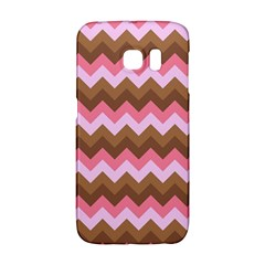 Shades Of Pink And Brown Retro Zigzag Chevron Pattern Galaxy S6 Edge
