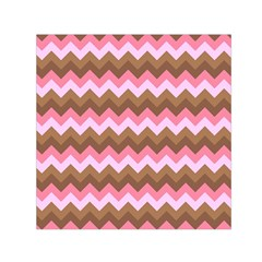 Shades Of Pink And Brown Retro Zigzag Chevron Pattern Small Satin Scarf (square)