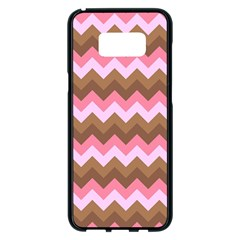 Shades Of Pink And Brown Retro Zigzag Chevron Pattern Samsung Galaxy S8 Plus Black Seamless Case