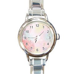 Watercolor Floral Round Italian Charm Watch