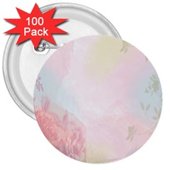 Watercolor Floral 3  Buttons (100 Pack)