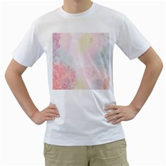 Watercolor Floral Men s T Shirt (white) (two Sided)