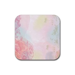 Watercolor Floral Rubber Square Coaster (4 Pack)
