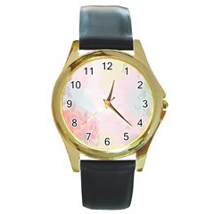 Watercolor Floral Round Gold Metal Watch
