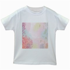 Watercolor Floral Kids White T Shirts