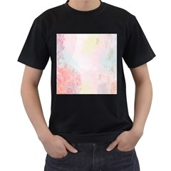 Watercolor Floral Men s T Shirt (black) (two Sided)