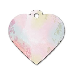 Watercolor Floral Dog Tag Heart (one Side)