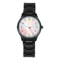 Watercolor Floral Stainless Steel Round Watch
