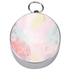 Watercolor Floral Silver Compasses