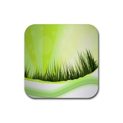 Green Background Wallpaper Texture Rubber Square Coaster (4 Pack)