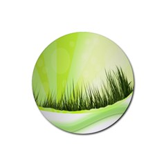 Green Background Wallpaper Texture Rubber Coaster (round)