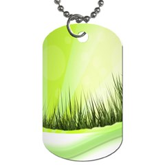 Green Background Wallpaper Texture Dog Tag (two Sides)