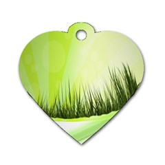 Green Background Wallpaper Texture Dog Tag Heart (two Sides)